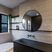 The windows were existing and, without an option architecture, bathroom, countertop, home, house, interior design, room, sink, gray
