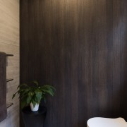 A timber oak veneer feature wall ties in bathroom, ceiling, floor, flooring, interior design, tile, wall, wood, black