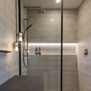 Using soft grey toned tiles in a large architecture, bathroom, daylighting, floor, glass, house, interior design, plumbing fixture, room, sink, tap, tile, wall, gray