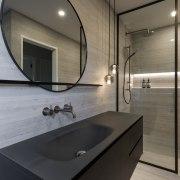 Custom metalwork shelves and mirror frame tie in architecture, bathroom, countertop, interior design, sink, tap, gray, black
