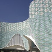 The Music Centre features brick cladding, tying it