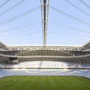The operable roof has been designed in sympathy architecture, arena, soccer-specific stadium, sport venue, stadium, teal