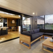 With sliding doors drawn back, the outdoor living