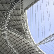 The stadium has an operable roof designed by architecture, landmark, line, metal, metropolitan area, pattern, sky, stadium, gray, teal