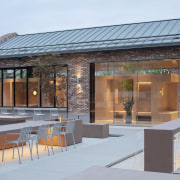 The coffee shop's indoor tree echoes its outdoor
