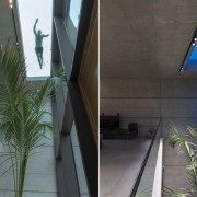 Superman flying overhead? The glass bottomed pool can architecture, building, daylighting, facade, glass, home, house, material property, plant, real estate, roof, room, siding, tree, black, gray