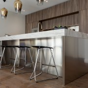 While the splashback and rear benchtop are more bar stool, cabinetry, countertop, floor, flooring, furniture, kitchen, material property, room, stool, table, gray, brown