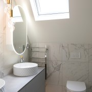A skylight introduces natural light into this new