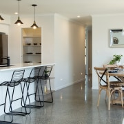 A stunning hardwearing aggregate concrete floor features in
