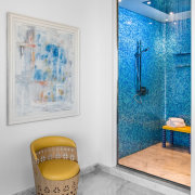 A Bisazza tiled shower pattern provides desired continuity bathroom, blue, interior design, room, wall, gray