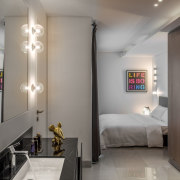 ​​​​​​​- Life is Boring - Mr. Andre - Screen bed, bedroom, boutique hotel, building, ceiling, floor, furniture, house, interior design, light fixture, lighting, property, room, suite, wall, gray
