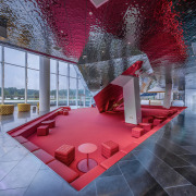 Reuse of real estate sales buildings - architecture architecture, building, ceiling, design, floor, flooring, interior design, lobby, red, room, table, tile, red