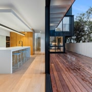 Indoors meets outdoors right along the home's rear
