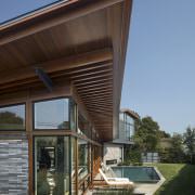 The unique wood living pavilion projects into the architecture, building, facade, home, house, real estate, siding, black