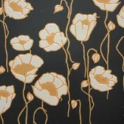 Print: Mason Poppies MPP01 - Mason Poppies MPP01 design, flower, pattern, wallpaper, black