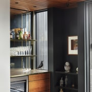 1970's home becomes a modern entertainer's dream - architecture, building, cabinetry, ceiling, countertop, cupboard, door, floor, furniture, home, house, interior design, loft, property, room, wood, black