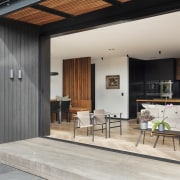 1970's home becomes a modern entertainer's dream - architecture, building, ceiling, design, door, facade, floor, furniture, home, house, interior design, living room, loft, property, real estate, room, wall, window, gray