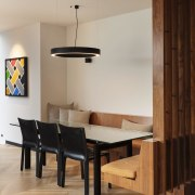 1970's home becomes a modern entertainer's dream - architecture, building, ceiling, chair, design, dining room, floor, flooring, furniture, hardwood, home, house, interior design, living room, plywood, property, room, table, wall, wood, wood flooring, gray, brown