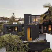 1970's home becomes a modern entertainer's dream - architecture, building, estate, facade, home, house, landscape, neighbourhood, palm tree, plant, property, real estate, residential area, roof, tree, white, black, brown