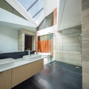 Washing under the stars – the master bathroom, architecture, building, ceiling, daylighting, floor, flooring, furniture, hardwood, home, house, interior design, loft, material property, property, real estate, room, space, tile, wall, wood, wood flooring, gray