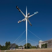 The new tower rises above the Goodwood Festival daytime, energy, machine, sky, wind, wind farm, wind turbine, blue