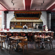 Priscilla's – the ground floor's 250-seat restaurant. café, coffeehouse, interior design, restaurant, table, black