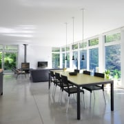 Upstairs, are the open-plan living area in the daylighting, house, interior design, property, real estate, table, window, gray
