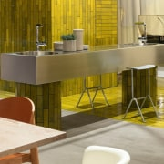 The kitchen is the centre of Studio Truly architecture, bar stool, building, chair, countertop, design, floor, flooring, furniture, house, interior design, material property, property, restaurant, room, table, yellow, brown, gray