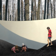 """Dirt ground"": This installation is a terrain de architecture, art, design, plant, tourist attraction, tree, visual arts, wall, woody plant, white, black, gray"