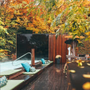 The terrace is naturally integrated into the environment, architecture, autumn, backyard, building, estate, home, house, interior design, landscape, leaf, nature, plant, property, real estate, residential area, room, state park, tree, woody plant, brown, black