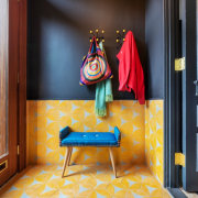 Entrance - building | chair | design | building, chair, design, floor, flooring, furniture, house, interior design, orange, red, room, table, textile, yellow, black