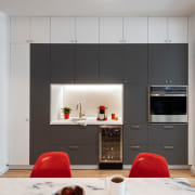 Kitchen 2 - building | cabinetry | ceiling building, cabinetry, ceiling, cupboard, door, floor, flooring, furniture, hearth, home, house, interior design, laminate flooring, living room, material property, property, red, room, table, wall, wardrobe, gray, black