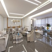 The whole living space is fitted with custom architecture, building, ceiling, furniture, house, interior design, office, property, real estate, restaurant, room, gray