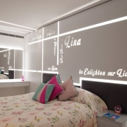 The girl's room reveals special words telling the bed, bed frame, bed sheet, bedding, bedroom, building, ceiling, design, furniture, interior design, lighting, room, wall, wallpaper, window, gray