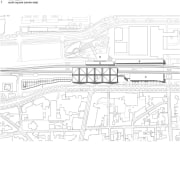 The bus station in context. - cepezed designs architecture, diagram, drawing, line, line art, technical drawing, text, white