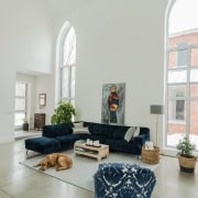 Neogothic architecture with contemporary character architecture, building, ceiling, chair, coffee table, couch, design, floor, flooring, furniture, hearth, home, house, interior design, living room, loft, property, real estate, room, table, white, gray