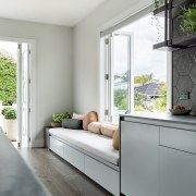 The window seat also extends from the kitchen
