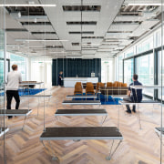 The flexbenches on the 5th floor in the architecture, building, ceiling, daylighting, design, floor, flooring, furniture, glass, headquarters, home, house, interior design, lobby, loft, office, property, room, white