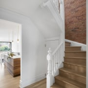 The home's restored stairway. - Past embraces present