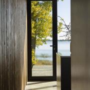 Indoor-outdoor flow is an integral part of this black, gray