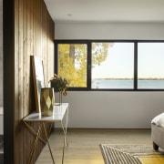 Dark cedar is a feature interior cladding in gray