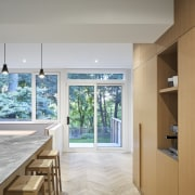 The new storage element provides pantry, fridge and