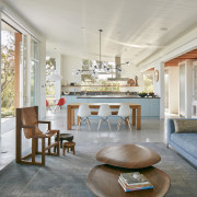 This MDa-designed home's open-concept living room, dining room,