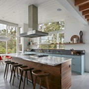The kitchen island in this Californian residence displays