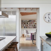 A view from the generous-sized kitchen into the