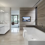 The master bathroom also takes in the bedroom's