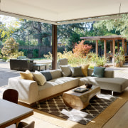 Outdoor rooms, including a seating area surrounding the