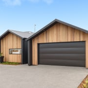 HIS Home - building | facade | garage building, facade, garage, home, house, property, real estate, shed, siding, teal, gray