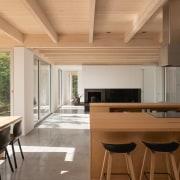 Solid maple was used for the kitchen islands,