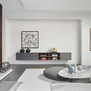 Distinctive wall and ceiling light fixtures throughout the